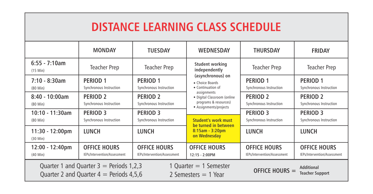 Distance Learning Class Schedule
